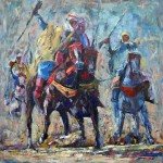 Horsemen, Oil Painting on canvas. 40x40 cm