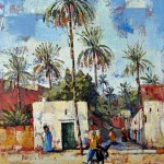 Laghouat Algeria, Oil Painting & Sand on plywood. 28x30 cm