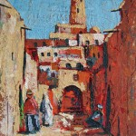 Ghardaia, street, Acrylic & Sand on plywood. 22x30 cm