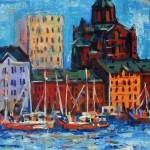 Helsinki, Oil Painting on paper. 35x35 cm