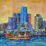 Boat and city, Oil Painting on Kraft paper. 20x20 cm