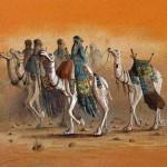 Tuareg caravan, Sand painting. 50x65 cm