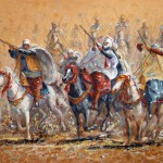 Cavalier of Djebel Amour, Sand painting. 60x73 cm