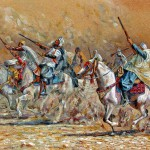 Algerian horsemen, Sand painting. 37x50 cm